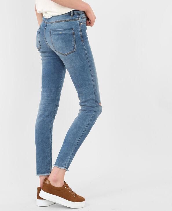 Jeggings taglio ginocchia blu denim