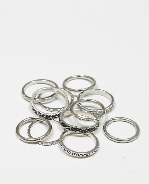 Lote de anillos gris brillante