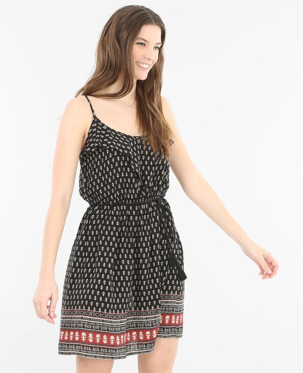 Bedrucktes Kleid Schwarz