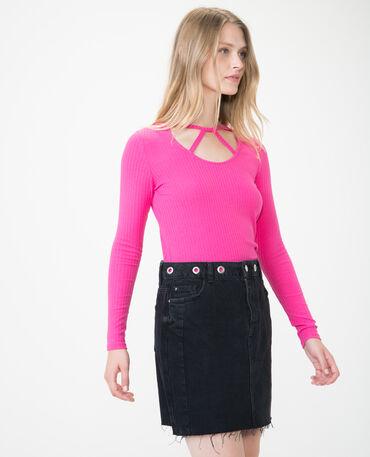 Camiseta con escote calado Rosa