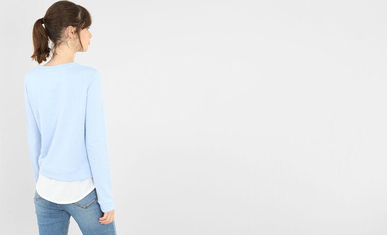 2 in 1 Sweatshirt mit Perlen Hellblau