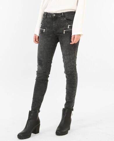 Skinny jeans met rits verwassen grijs