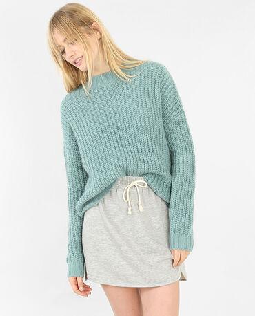 Grob gestrickter Pullover Grün