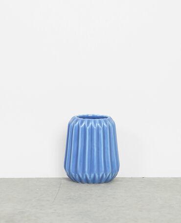Kleine Vase aus Keramik Ausgewaschenes Blau