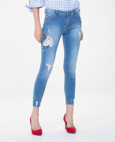 Jeans skinny bordados azul vaquero