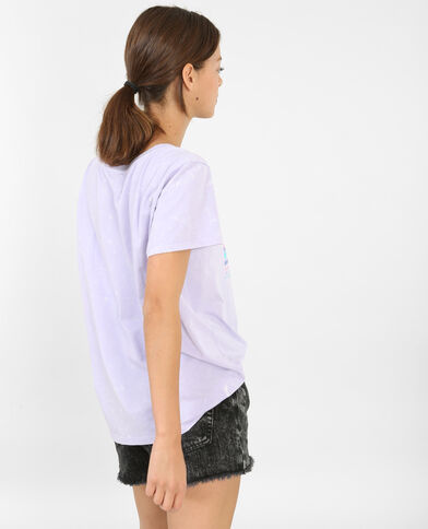 T-shirt met Honolulu-print violet