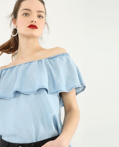 Bardot-Bluse mit Rüschen Blau