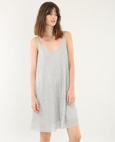 Fließendes Kleid mit Lurex Grau