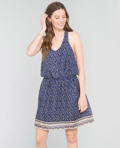 Bedrucktes Kleid mit gekreuztem Rückenteil Blau