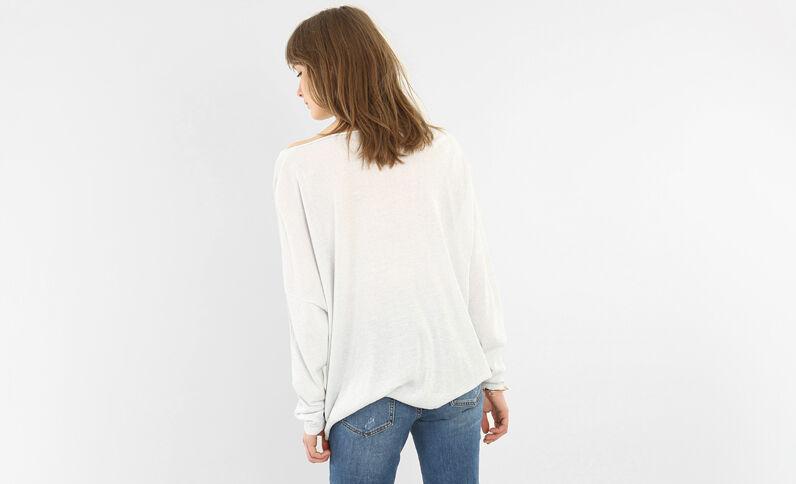 Lurex-Pullover mit V-Ausschnitt Weiß