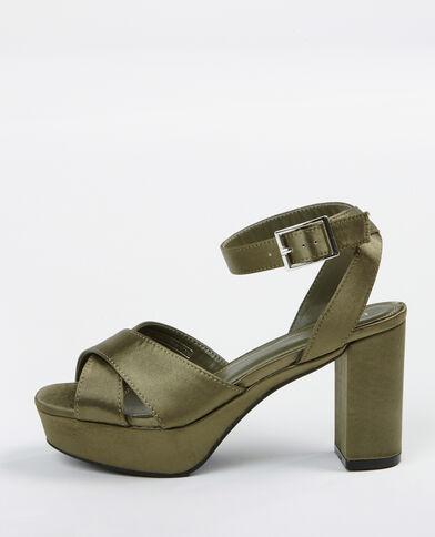 Sandalias de plataforma satinadas verde