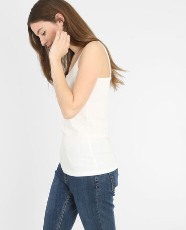 Camiseta de tirantes de algodón blanco