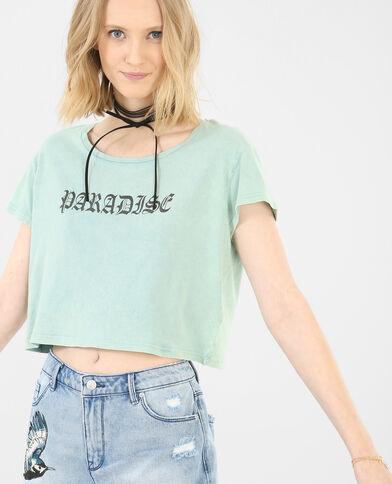 T-shirt cropped con scritta blu