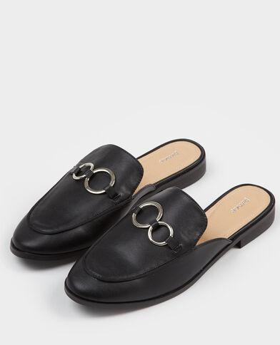 Mules style mocassins noir