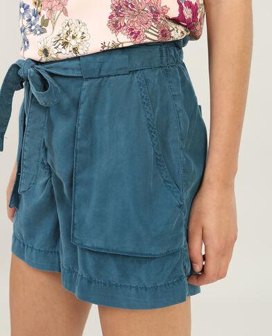 Shorts mit hohem Bund Türkis