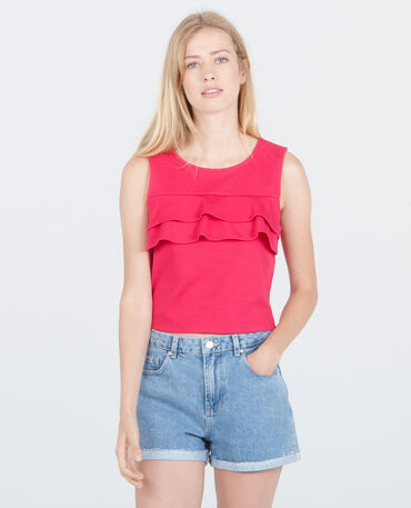 Cropped topje met ruches roze