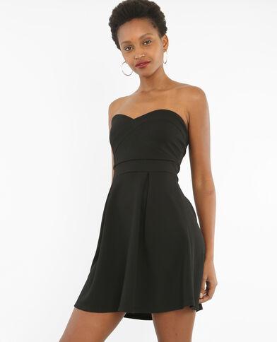 Strapless jurk met structuur zwart