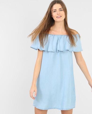 Jeanskleid mit Rüschen Hellblau