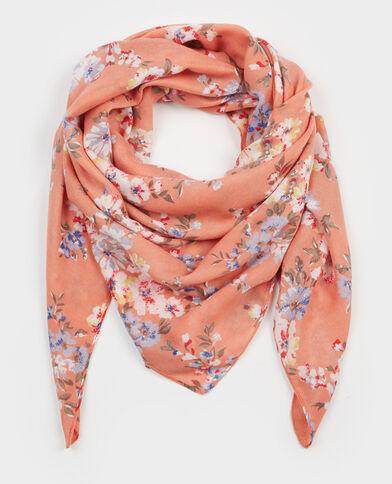 Foulard fleuri rose