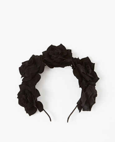 Serre-tête à fleurs noir