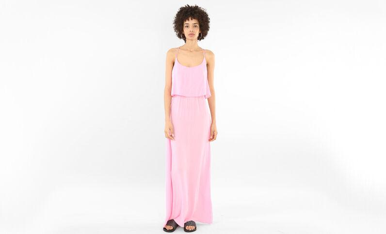 Robe longue dos croisé rose