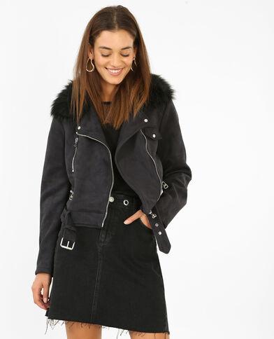 Jacke mit Nackenwärmer aus Kunstfell Schwarz