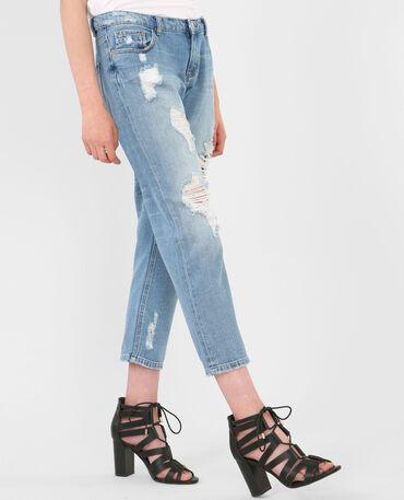 Boyfriend-Jeans im Destroy-Look Denimblau