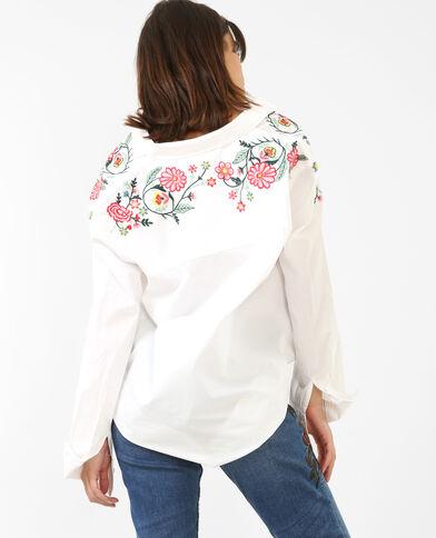Besticktes Hemd Weiß