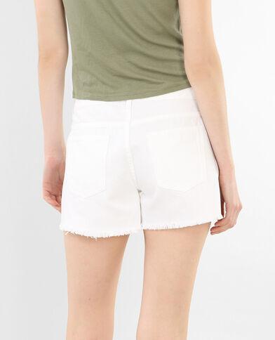 Short in jeans ricamato bianco