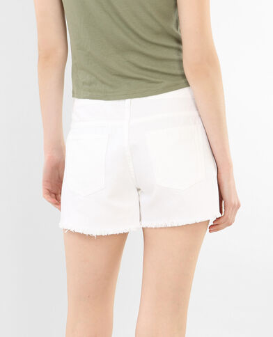 Jeansshort met geborduurde print wit