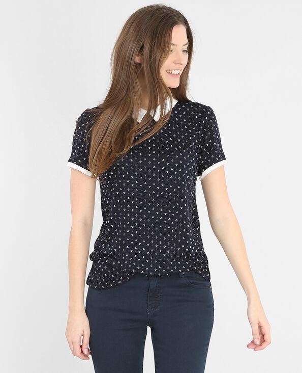 T-shirt stampata colletto claudine blu marino