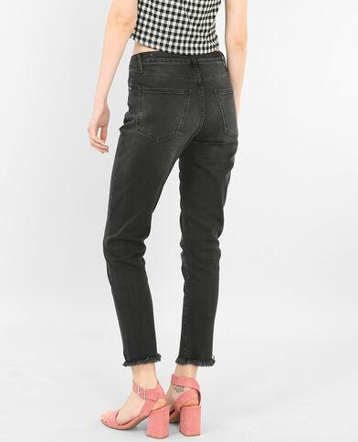Slim jeans met rits verwassen grijs