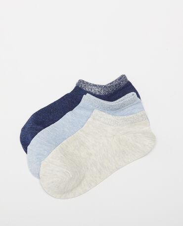 Lote de 3 pares de calcetines tobilleros azul