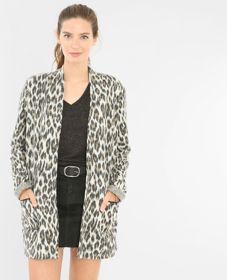 Chaqueta larga de leopardo crudo