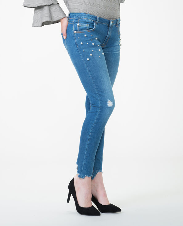 Jeans skinny con perlas azul