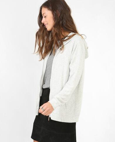 Weiches Sweatshirt mit Reißverschluss Grau meliert