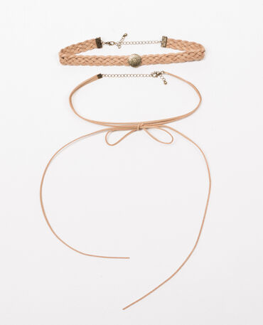 Lot de 2 colliers choker Beige