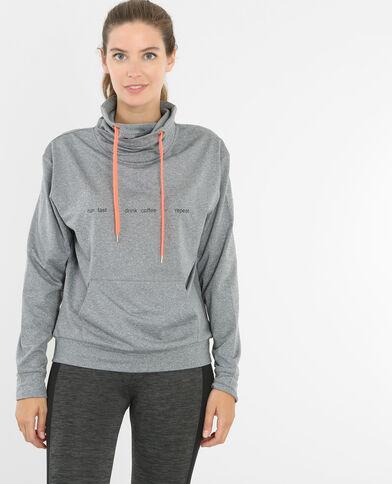 Sweat fin running gris chiné