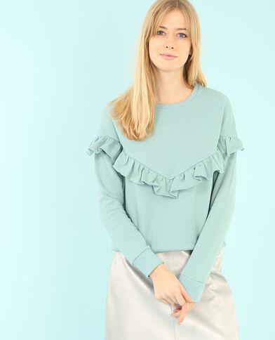 Sweatshirt mit Rüsche Grün