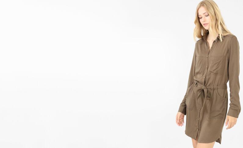 Vestido camisero caqui