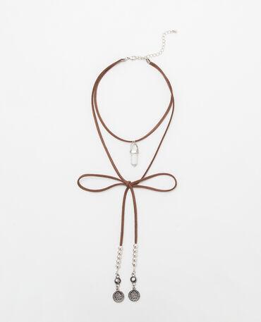Choker-Halsband mit marmoriertem Stein Kastanienbraun