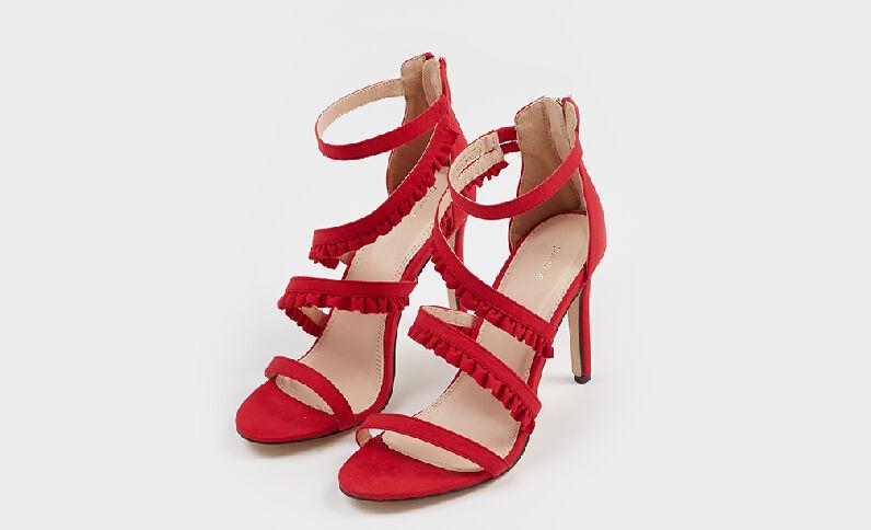 Sandales à talons aiguilles brique