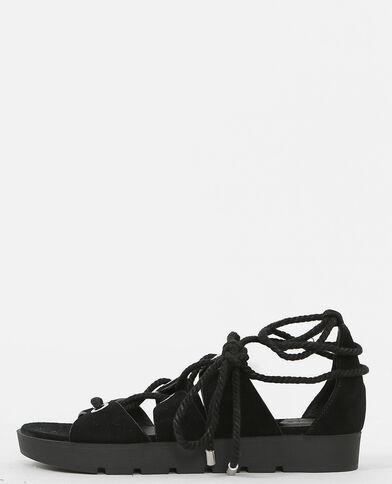 Flache Sandaletten zum Binden Schwarz