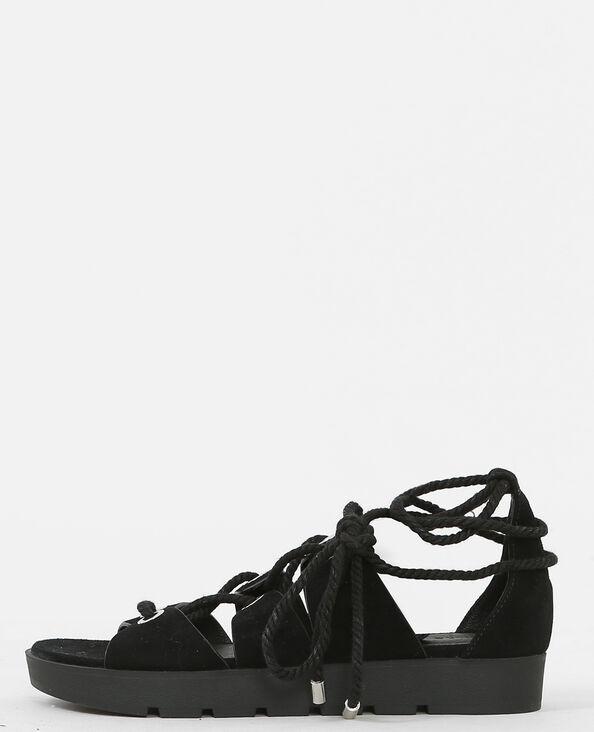 Sandales plates à nouer noir
