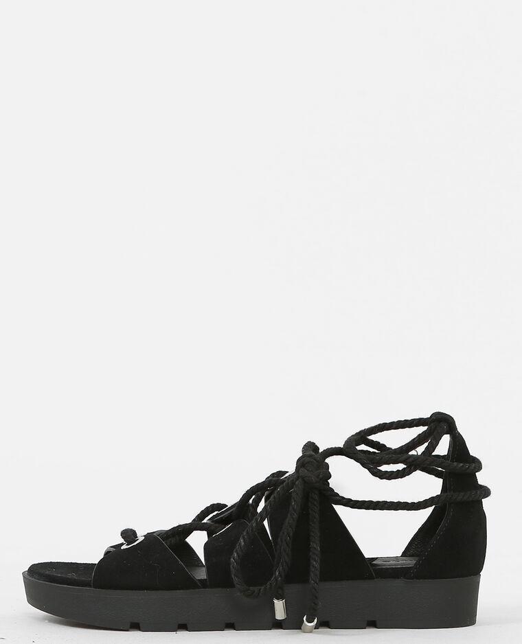 flache sandaletten zum binden schwarz 988086899a08 pimkie. Black Bedroom Furniture Sets. Home Design Ideas