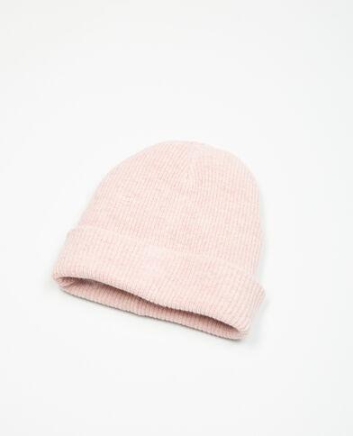 Bonnet beanie côtelé bois de rose