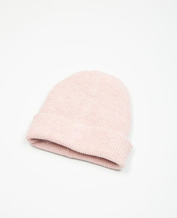 Beanie-Mütze, gerippt Rosenholz