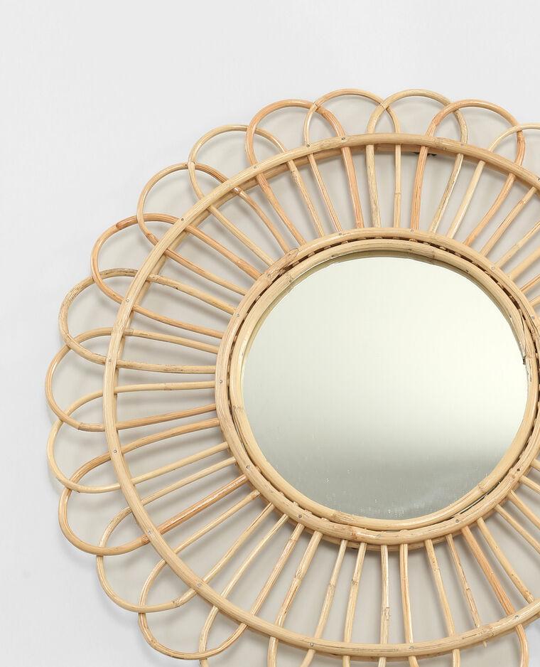Miroir rond en rotin beige taupe 904073742a07 pimkie for Miroir rond rotin
