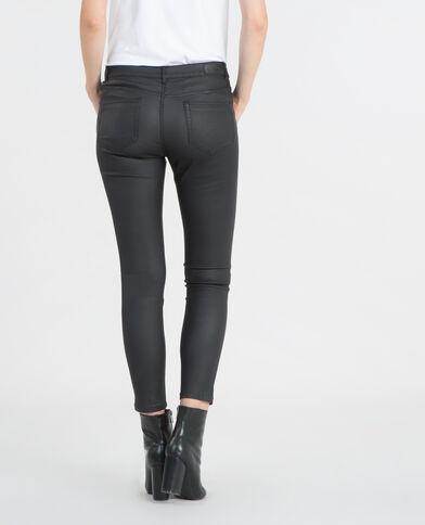 7/8-skinny met coating zwart