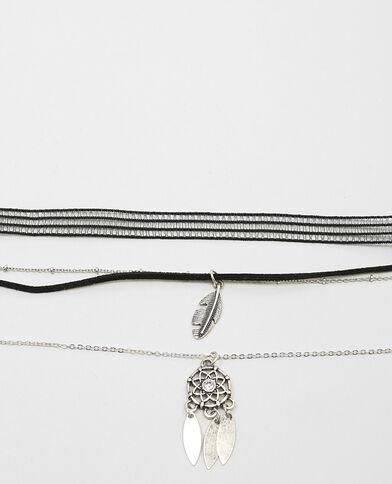 Set Choker-Halsbänder Silberig